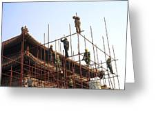 Workers Climb Scaffolding On The Palace Greeting Card