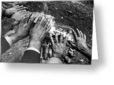 Workers' Hands By The Fire Greeting Card