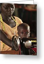 Working Mother And Child, Uganda Greeting Card by Mauro Fermariello