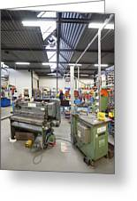 Workshop Full Of Machinery In A Factory Greeting Card