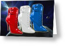World Domination In Red White And Blue Boots Greeting Card