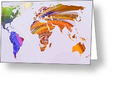 World Map Abstract Painted Greeting Card