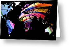 World Map Abstract Painting 2 Greeting Card