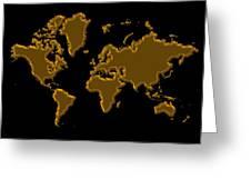 World Map Gold Greeting Card