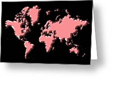 World Map Pink Greeting Card