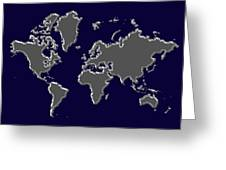 World Map Silver Greeting Card