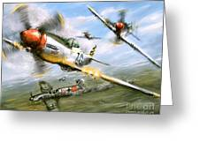 World War 2 P 51d Thisizit Checkertails Greeting Card