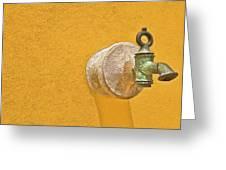 Worn Brass Spigot  Of Medieval Europe Greeting Card