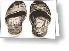 Worn Slippers Greeting Card