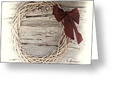 Woven Reed Wreath Greeting Card by Linda Phelps