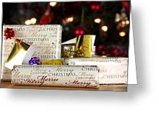 Wrapped Gifts With Tags Greeting Card