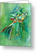 Contemporary Green Colorful Plane Abstract Composition Greeting Card