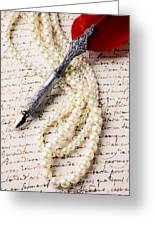 Writing Pen And Perals  Greeting Card