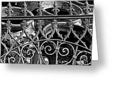 Wrought Iron Gate And Pots Black And White Greeting Card