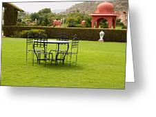 Wrought Metal Chairs Around A Table In A Lawn Greeting Card