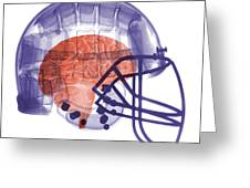 X-ray Of Head In Football Helmet Greeting Card
