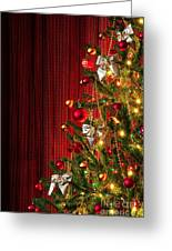 Xmas Tree On Red Greeting Card