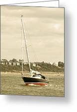 Yacht Entering Christchurch Harbour Greeting Card
