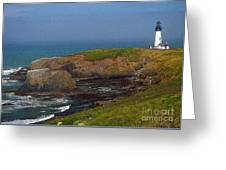 Yaquina Head Lighthouse And Bay - Posterized Greeting Card