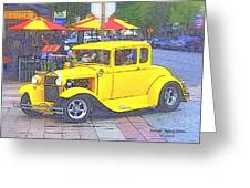 Yellow 1930's Ford Roadster Greeting Card