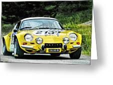Yellow Alpine Renault Greeting Card