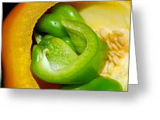 Yellow And Green Nested Pepper Greeting Card