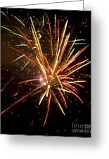 Yellow And Red Fireworks Greeting Card