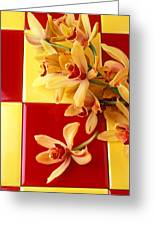 Yellow And Red Orchids  Greeting Card