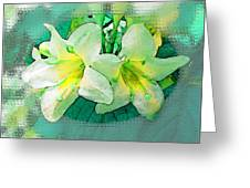 Yellow Aqua Weigela Art Greeting Card