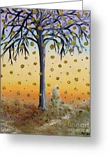 Yellow-blossomed Wishing Tree Greeting Card