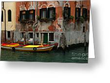 Yellow Boat Venice Italy Greeting Card