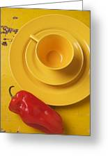Yellow Cup And Plate Greeting Card