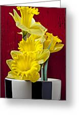 Yellow Daffodils In Checkered Vase Greeting Card