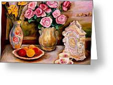 Yellow Daffodils Red Roses  Peaches And Oranges With Tea Cup  Greeting Card