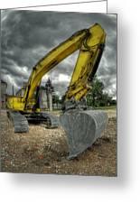 Yellow Excavator Greeting Card