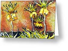Yellow Flowers Greeting Card by Odon Czintos