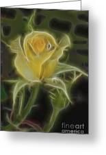 Yellow Fractalius Rose Greeting Card