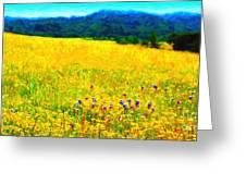 Yellow Hills . Long Cut Greeting Card