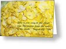 Yellow Hydrangea Isaiah 42v10 Greeting Card by Linda Phelps