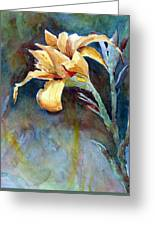 Yellow Iris Greeting Card by Alan Smith