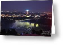 Yellow Light Over The Niagara Falls  - Canada Greeting Card