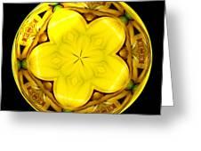 Yellow Lily Kaleidoscope Under Glass Greeting Card