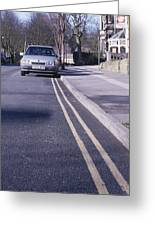 Yellow Lines On Road Greeting Card by Andrew Lambert Photography