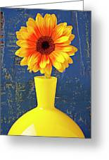 Yellow Mum In Yellow Vase Greeting Card