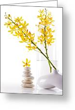 Yellow Orchid Bunchs Greeting Card by Atiketta Sangasaeng