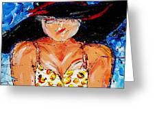 Yellow Polka Dot Bikini Greeting Card