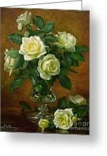 Yellow Roses Greeting Card by Albert Williams