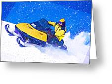Yellow Snowmobile In Blizzard Greeting Card