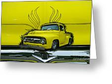 Yellow Truck In Truck Grill Greeting Card
