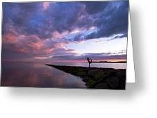 Yoga Dancer Asana On Beach Jetty Greeting Card
